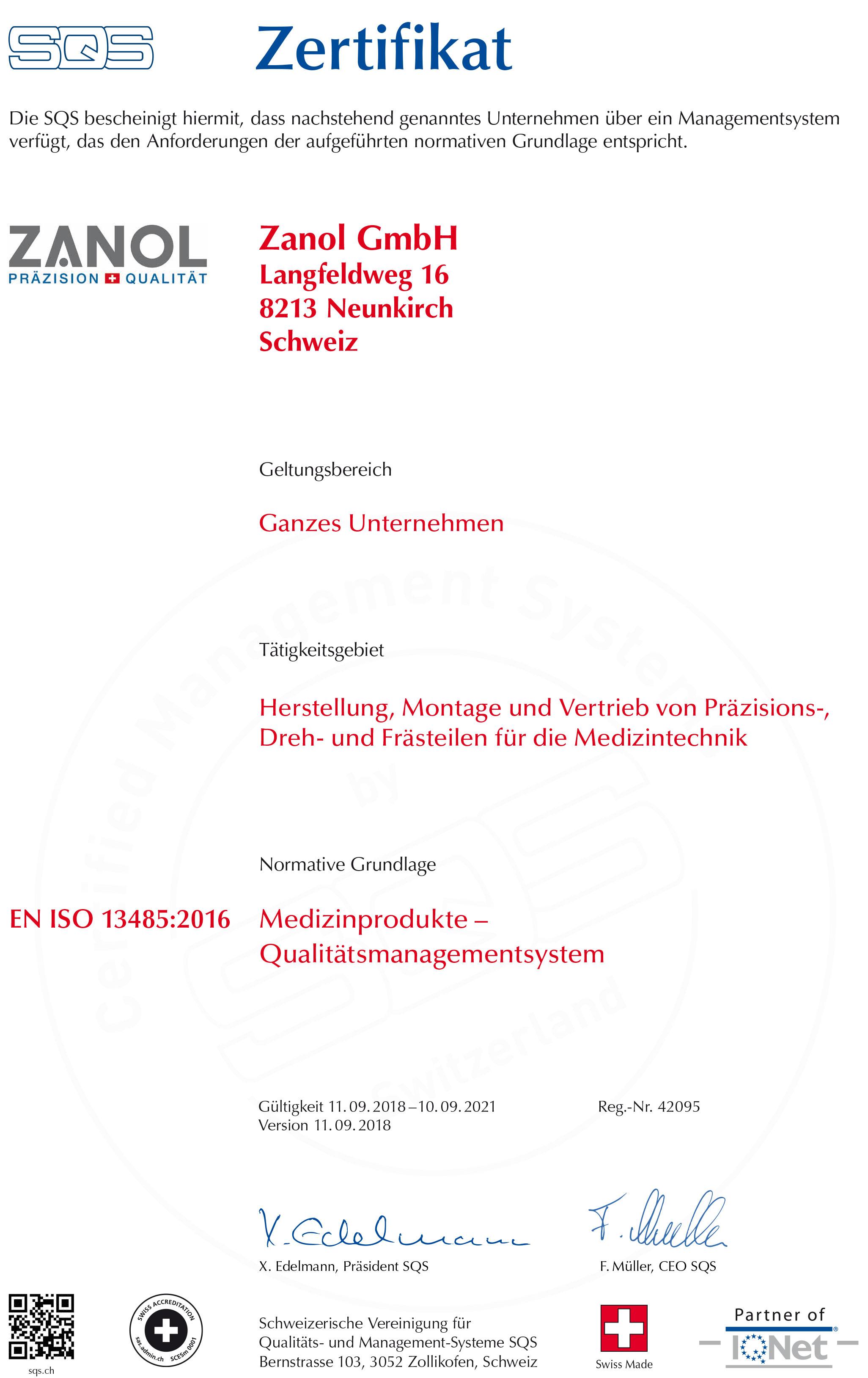 ZANOL Zertifikat
