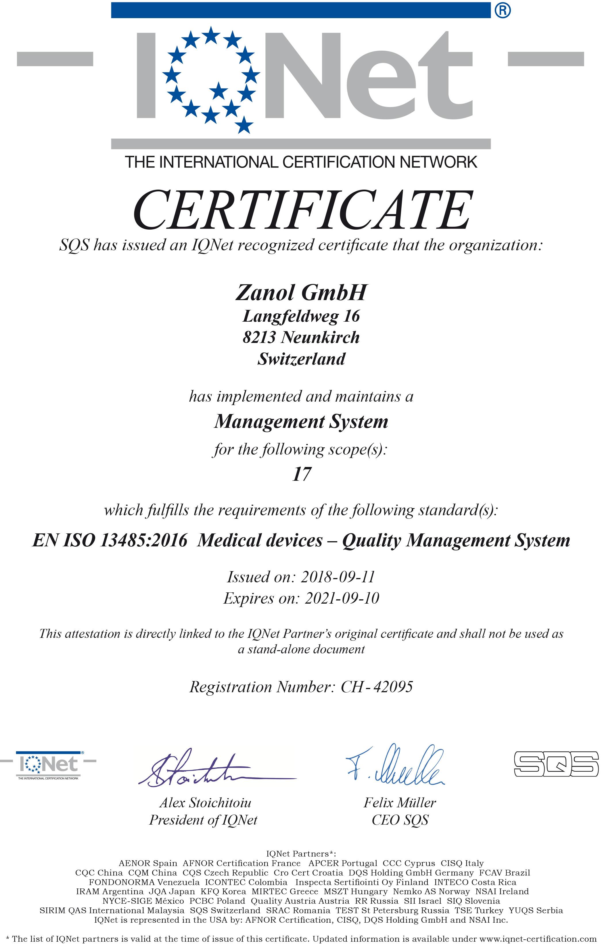 ZANOL QM Zertifikat